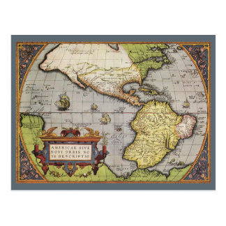 Antique World Map of the Americas, 1570 Postcard