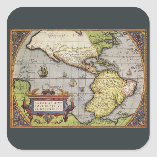 Antique World Map of the Americas, 1570 Square Sticker