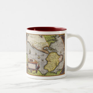 Antique World Map of the Americas, 1570 Two-Tone Coffee Mug