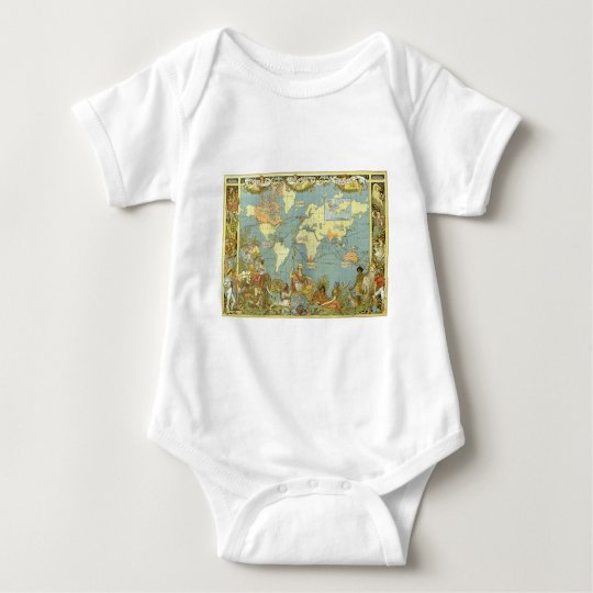 Antique World Map of the British Empire, 1886 Baby Bodysuit