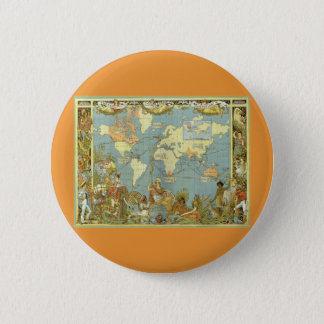Antique World Map of the British Empire, 1886 Button