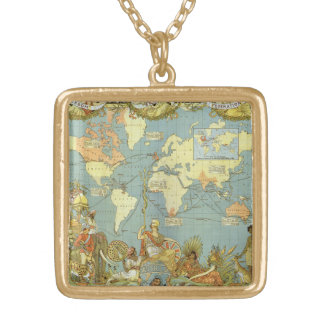 Antique World Map of the British Empire, 1886 Gold Plated Necklace