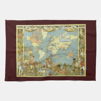 Antique World Map of the British Empire, 1886 Hand Towels