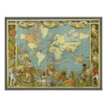 Antique World Map of the British Empire, 1886 Poster