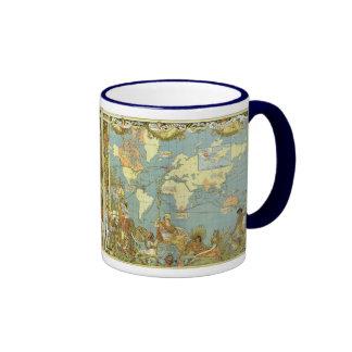 Antique World Map of the British Empire, 1886 Ringer Mug