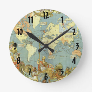 Vintage world atlas maps wall clocks zazzle antique world map of the british empire 1886 round clock gumiabroncs Images