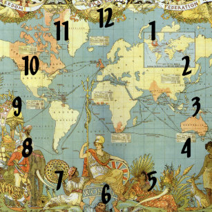 Atlas wall clocks zazzle antique world map of the british empire 1886 round clock gumiabroncs Choice Image
