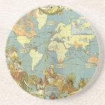 Antique World Map of the British Empire, 1886 Sandstone Coaster
