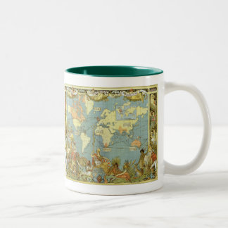 Antique World Map of the British Empire, 1886 Two-Tone Coffee Mug