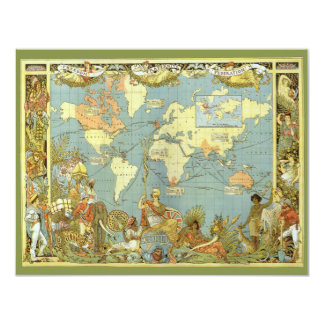 Antique World Map of the British Empire Invitation