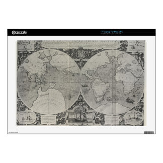 "Antique World Map - Old maps of Asia 17"" Laptop Decal"