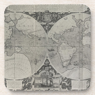 Antique World Map - Old maps of Asia Beverage Coaster