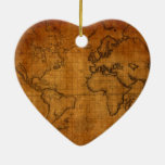 Antique World Map Double-Sided Heart Ceramic Christmas Ornament