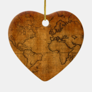 Antique World Map Christmas Tree Ornaments