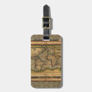 Antique World Map Ortelius Vintage Bag Tag
