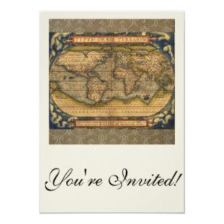 Antique World Map Ortelius Vintage Card