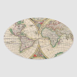 31 antique world map oval stickers zazzle antique world map oval sticker gumiabroncs Image collections