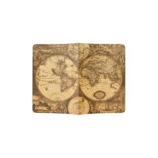 Antique World Map Passport Holder