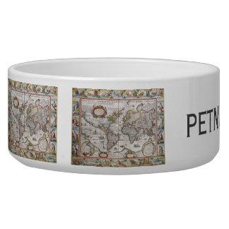 Antique World Map pet bowls