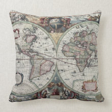 Antique World Map Pillow throwpillow