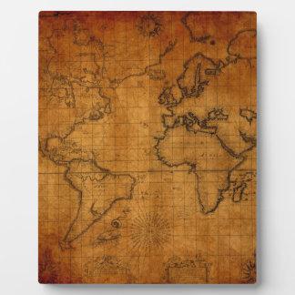 Antique World Map Plaque