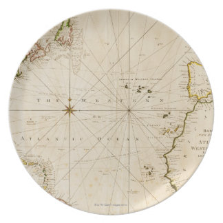 Antique world map party plate