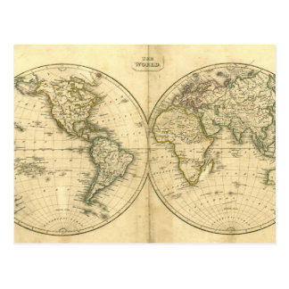 Antique world map post card