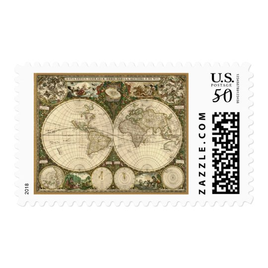 Antique World Map Postage