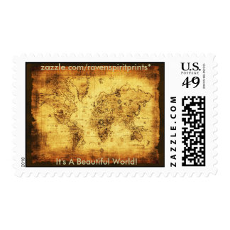 Antique World Map Postage Stamps