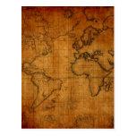 Antique World Map Postcards