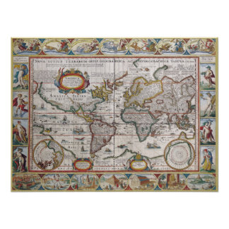 Antique World Map poster