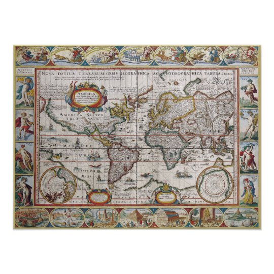 Antique world map poster zazzle antique world map poster gumiabroncs Gallery