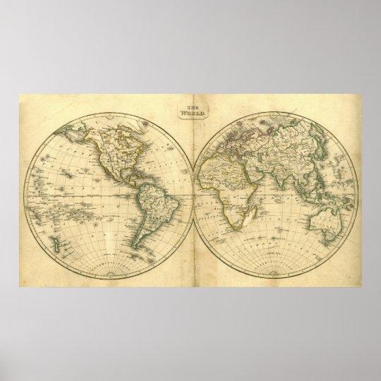 Antique world map poster | Zazzle.com