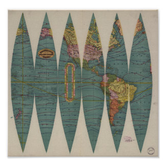 Antique World Map Rand McNally 1891 Poster