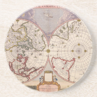 Antique World Map Sandstone Coaster