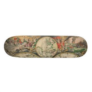 Antique World Map Skateboard Deck