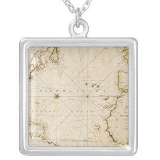 Antique world map square pendant necklace
