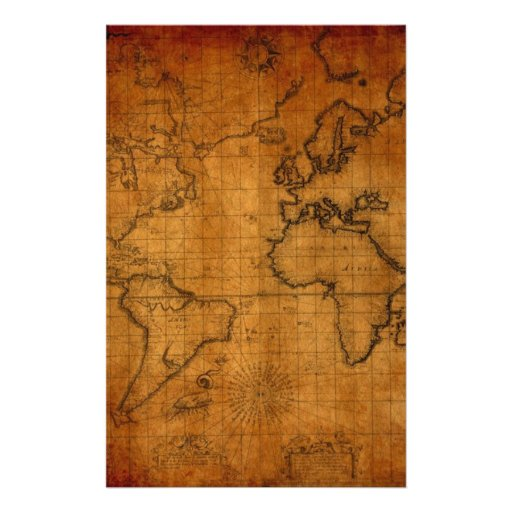 Antique World Map Customized Stationery