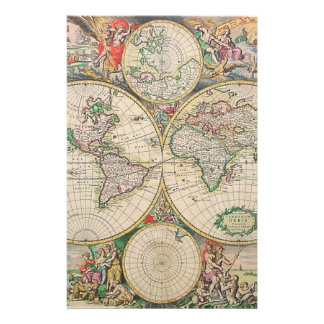 Antique World Map Stationery