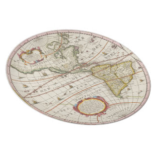 Antique World Map The Americas Melamine Plate
