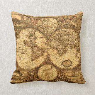 Antique World Map Throw Pillow