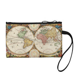 Antique World Map Two Hemispheres Ancient History Coin Wallets