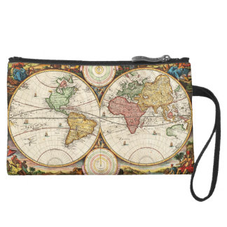 Antique World Map Two Hemispheres Ancient History Wristlet Clutch