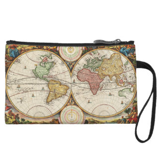 Antique World Map Two Hemispheres Ancient History Wristlet Purse