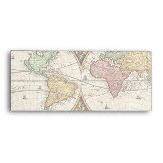 Antique World Map Two Hemispheres Ancient History Envelope