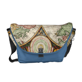 Antique World Map Two Hemispheres Ancient History Messenger Bags