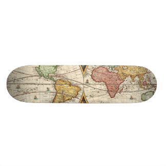 Antique World Map Two Hemispheres Ancient History Skateboard