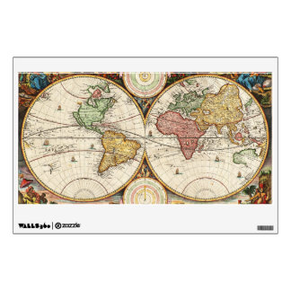Antique World Map Two Hemispheres Ancient History Wall Decal