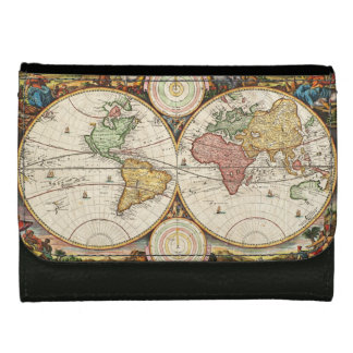 Antique World Map Two Hemispheres Ancient History Wallet