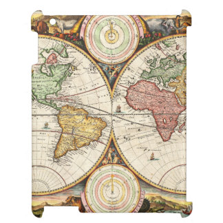 Antique World Map Two Hemispheres Rare Vintage Art Cover For The iPad